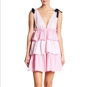 Romeo & Juliet Couture Ruffle Tiered Pink Dress L